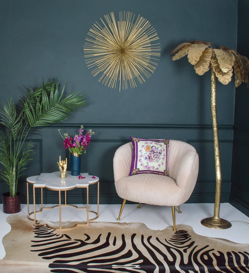 AUDENZA, Marilyn Velvet Armchair £520, Taj Marble And Brass Coffee Table £325, Palm Tree Floor Lamp £1,025, http://www.audenza.com/marilyn-velvet-armchair
