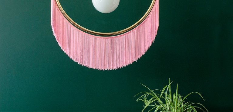 AUDENZA,  Wink Fringed Pendant Light In Candy Pink , 6625539.jpg