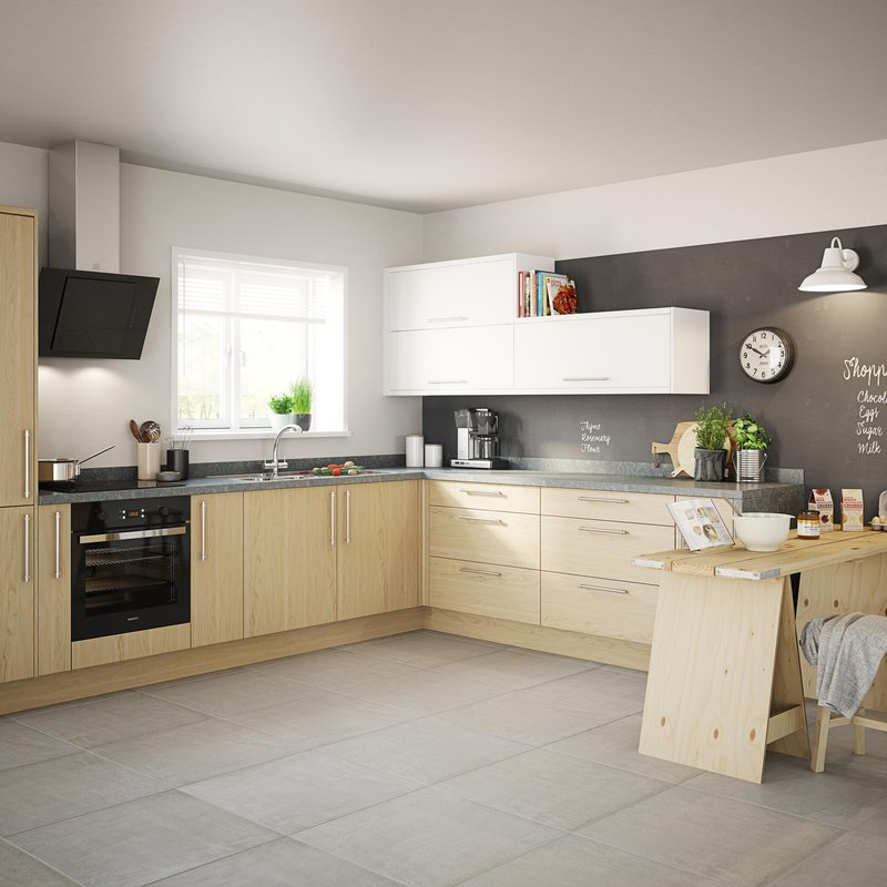 B&Q, Sandford Textured Oak Effect Slab - starting at £769 for an 8 unit Galley kitchen, https://www.diy.com/