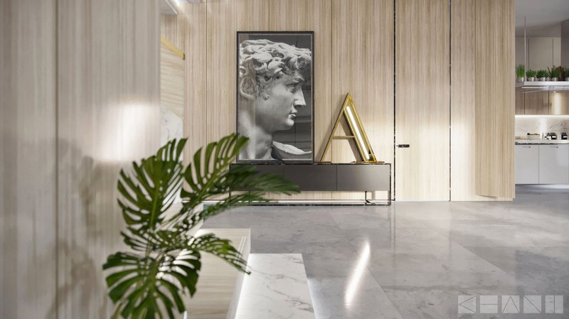 DelightFULL, Living Room_Modern style in white marble and wood with a Yellow Letter Lamp, https://www.delightfull.eu/en/graphic-lamps/graphic/letter-a