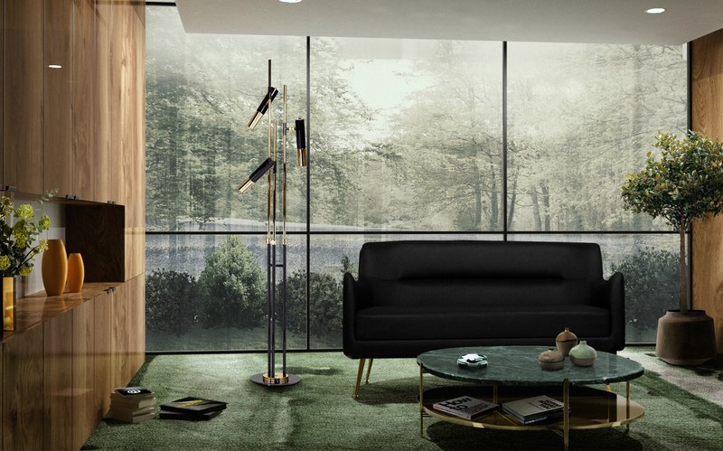 DelightFULL, Living Room  Wooden Walls With Gold and Black Floor Lamp, 1838204.jpg