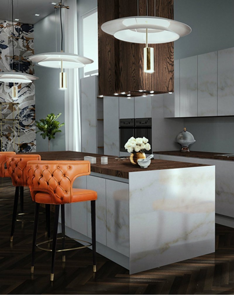 DelightFULL,  Kitchen_ Modern Orange and White Decor With Marble and With Lamp, https://www.delightfull.eu/en/heritage/suspension/basie-suspension-lamp