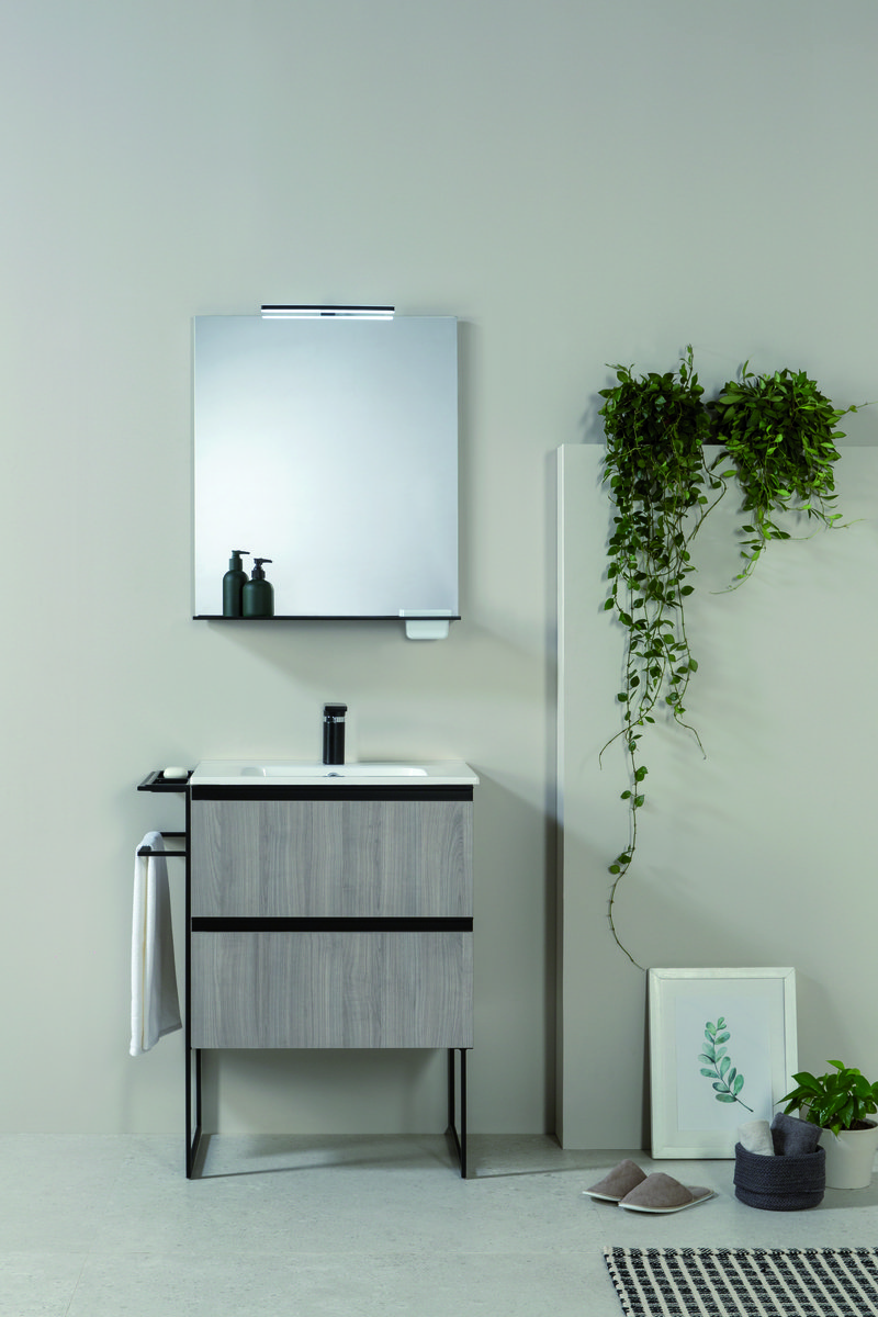 Frontline Bathrooms, Royo Structure 600mm Unit in Sandy Grey with solid surface basin, 1960742.jpg