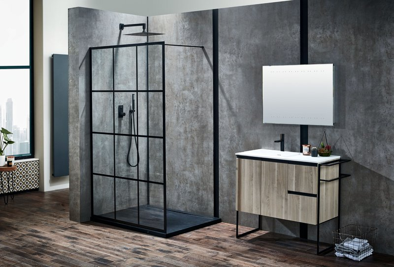 Frontline Bathrooms, Velar Shower Enclosure , https://www.frontlinebathrooms.co.uk/aquaglass-velar-8mm-black-framed-walk-in-enclosure