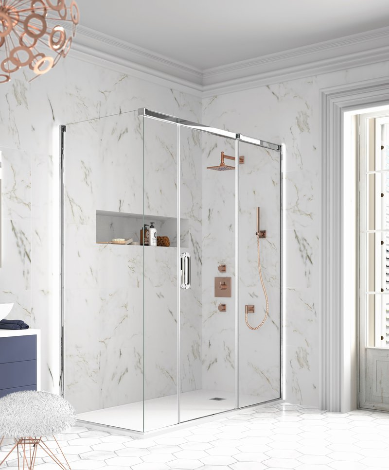 Merlyn Showering, Arysto 2 Panel Sliding Door With Side Panel, https://merlynshowering.com/