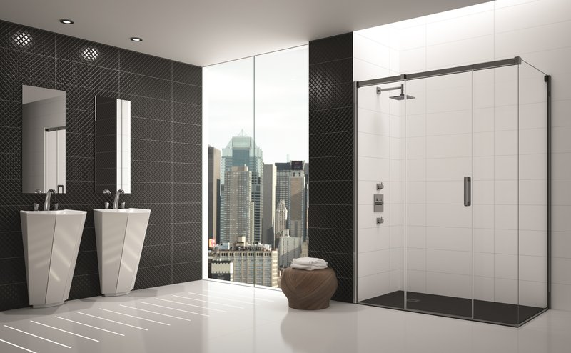 Merlyn Showering, Merlyn's Arysto 3 Panel Sliding Door with Side Panel black chrome, https://merlynshowering.com/